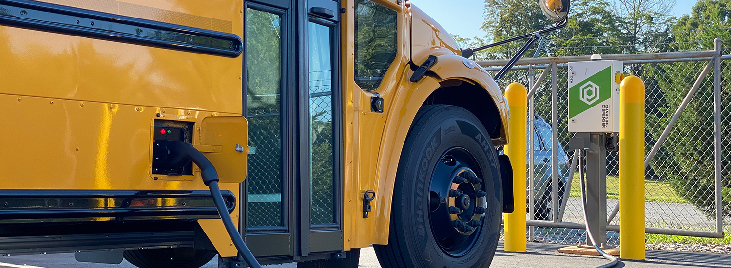 Jouley electric school bus charging on Proterra charger