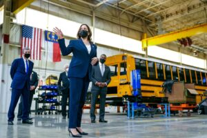Kamala Harris tour of Thomas Built Buses